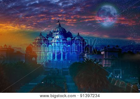 India. Delhi. The temple Akshardham by the light of the full Moon. Elements of this image furnished