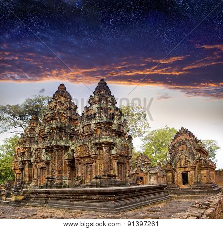 Banteay Srey before sunrise Siem Reap Cambodia