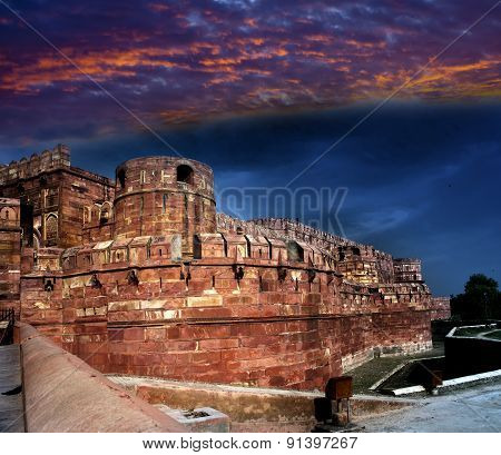 India. Agra. Red fort on a sunset