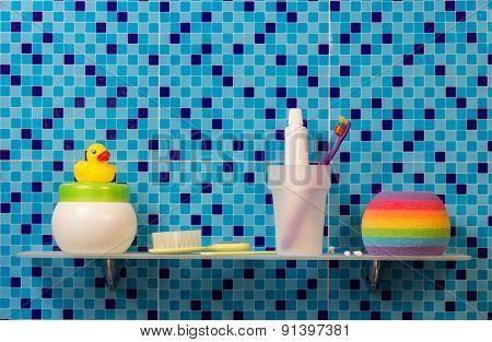 Bath accessories on shelf