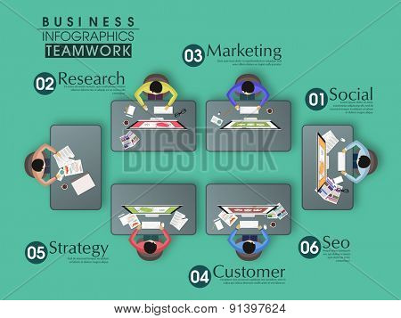 Set of infographic elements with illustration of creative team working in office on green background.