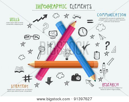 Creative infographic template layout with shiny colorful pencils and various elements for your business.