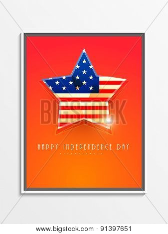 Glossy American national flag colors star for Independence Day celebration, can be used as poster, banner or flyer design.