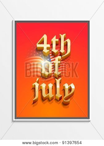 Glossy 3D text 4th of July on waving national flag background for American Independence Day celebration.