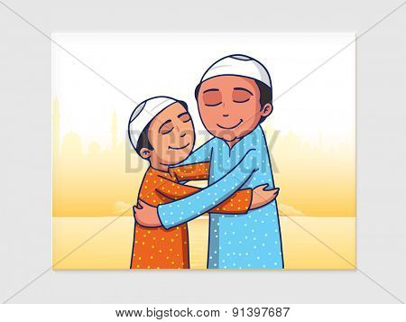 Happy Muslim men hugging each other on occasion of Eid Mubarak celebration on Mosque silhouette background.