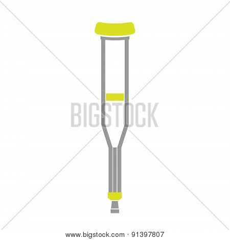 Flat Icon of Crutch Isolated on White Background