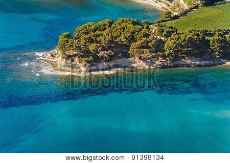 Aerial view of Cassis from the coastal path between Semaphore La Ciotat