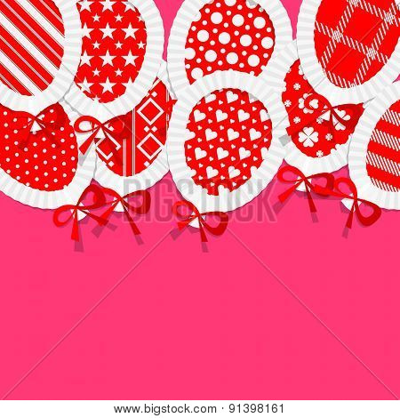 Simple Red Paper Balloons with Pattern Fill, Lace and Ribbons Party Background