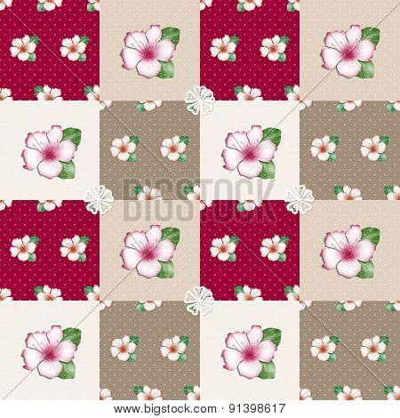Patchwork Seamless Floral Azalea Pattern Texture Background