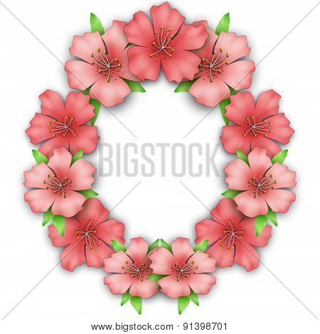 Flower Frame Border. Bouquet Of Pink Pastel Azalea
