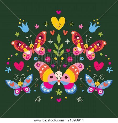 butterflies folk art