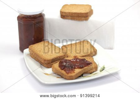slices wholemeal bread with jam for