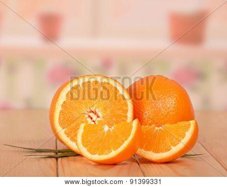 Cut orange on white