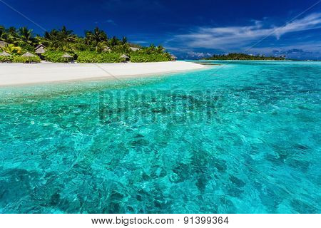 The best snorkeling location on the main resort beach in Maldives
