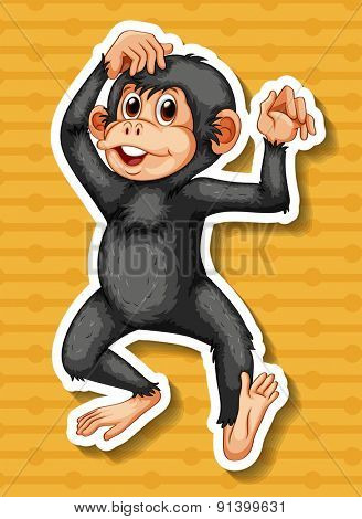 Closeup happy monkey standing on yellow background