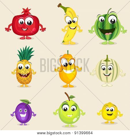 Set of nine colorful fruits character in laughing way on beige background.
