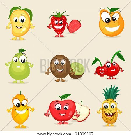 Set of nine colorful fruits character in smiling way on beige background.