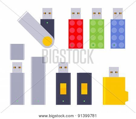 Set of the USB flash-drives