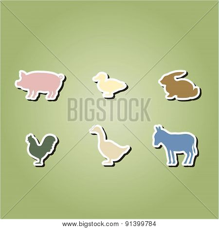 set of color icons with  domestic animals