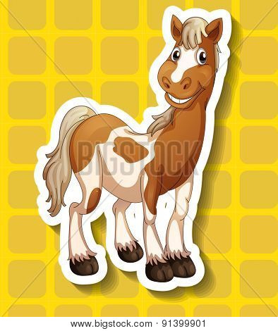 Closeup horse on yellow squares background