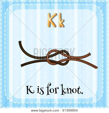 Flashcard letter K is for knot