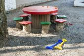 pic of stool  - Table stools toys on the playground in kindergarten - JPG
