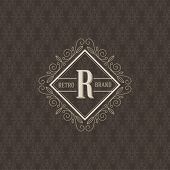 foto of boutique  - Monogram logo template with flourishes calligraphic elegant ornament elements - JPG