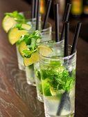 foto of mojito  - Mojito cocktailc shot on a bar counter in a nightclub - JPG