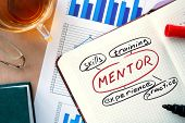 image of mentoring  - Notepad with word mentor concept and marker - JPG