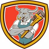 foto of nose ring  - Illustration of a bull plumber standing with arms folded looking to the side holding monkey wrench set inside shield crest on isolated background done in cartoon style - JPG