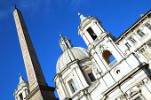 pic of obelisk  - Saint Agnese in Agone with Egypts obelisk in Piazza Navona Rome Italy - JPG