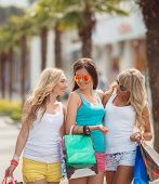image of overspending  - Three young girls - JPG