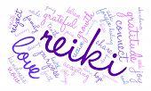 image of reiki  - Reiki word cloud on a white background - JPG