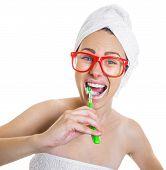 picture of toothpaste  - Woman brushing teeth - JPG