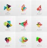 stock photo of universal sign  - Set of paper graphic layouts - JPG