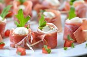 foto of south tyrol  - Mozzarella balls with delicious South Tyrolean smoked bacon - JPG
