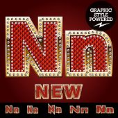 image of letter n  - Vector luxury chic alphabet of gold and ruby letters - JPG
