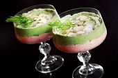 stock photo of avocado  - Crab mousse is made of crab meat or surimi mascarpone red bell pepper and garlic