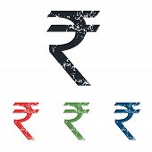 picture of indian currency  - Colored grunge icon set with Indian rupee symbol - JPG