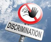 image of racial discrimination  - stop discrimination equal rights equality no racism based on age race or ethnicity gender no homophobia  - JPG