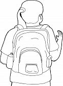 picture of waving hands  - Cartoon of woman with backpack waving hands - JPG