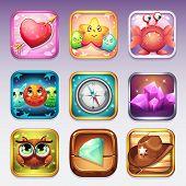 Постер, плакат: Set Icons For Computer Games On Various Topics