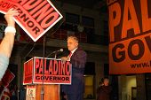 stock photo of underdog  - Carl Paladino the underdog delivering his victory speech after winning the NY primary election for GOP  - JPG
