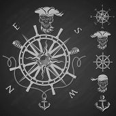picture of pirate flag  - Sea emblem and a set of pirate elements - JPG