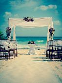 pic of altar  - Wedding altar on the beach in Mexico with caribbean sea in the background - JPG