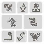 Постер, плакат: set of monochrome icons with American Indians relics dingbats characters part 9