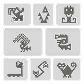 Постер, плакат: set of monochrome icons with American Indians relics dingbats characters part 9