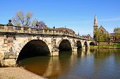 foto of church-of-england  - The English Bridge across the River Severn with United Reformed Church to the right hand side Shrewsbury Shropshire England UK Western Europe - JPG