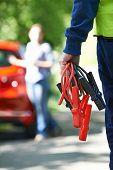 image of breakdown  - Mechanic Attending Car Breakdown On Country Road - JPG