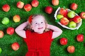 foto of healthy eating girl  - Child eating apple - JPG